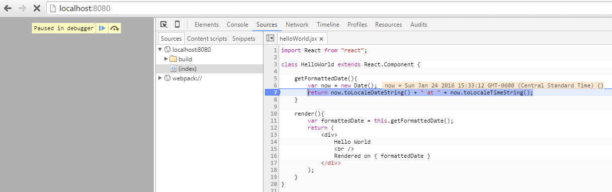 ES6 HelloWorld Interpreted Breakpoint