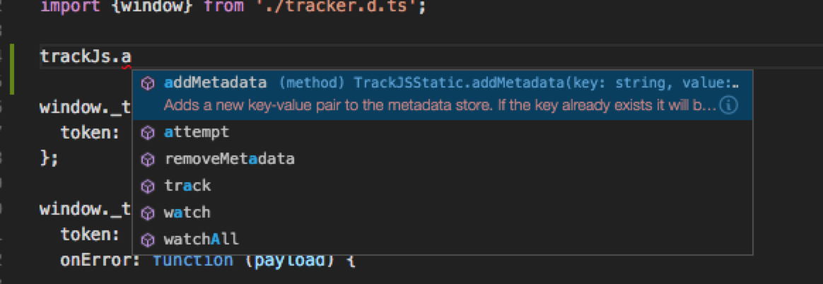 VSCode Tracker Intellisense
