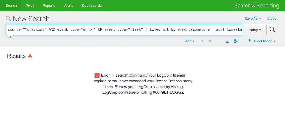 LogCorp Dashboard with Licensing Error