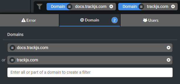 Filtering to multiple domains.