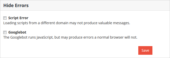 Hide errors from the profile page
