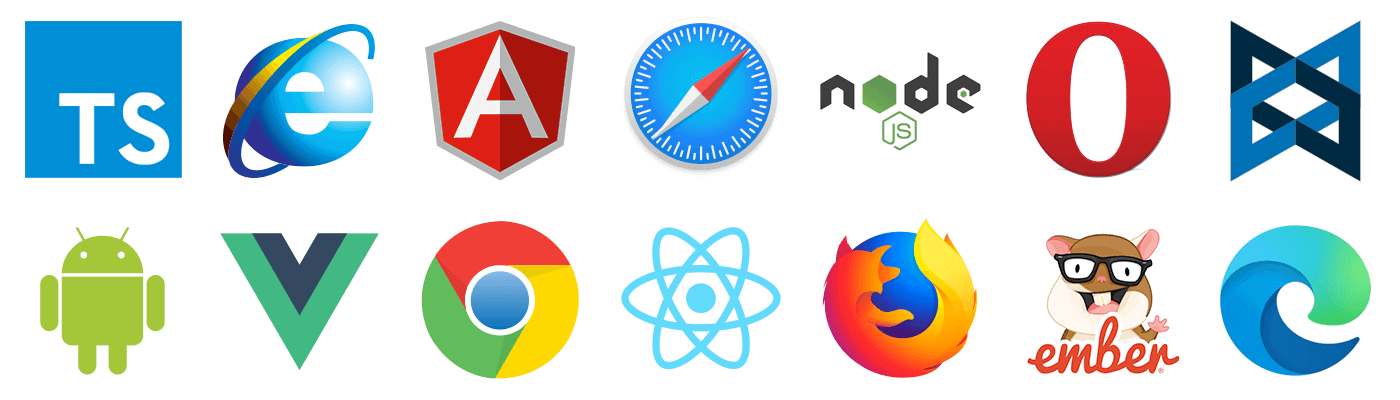 numerous browser and JavaScript framework logos